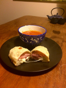 The final product: my first homemade Stromboli! And my first time baking with a leavening agent (yeast). Very rewarding. Now, time to eat!